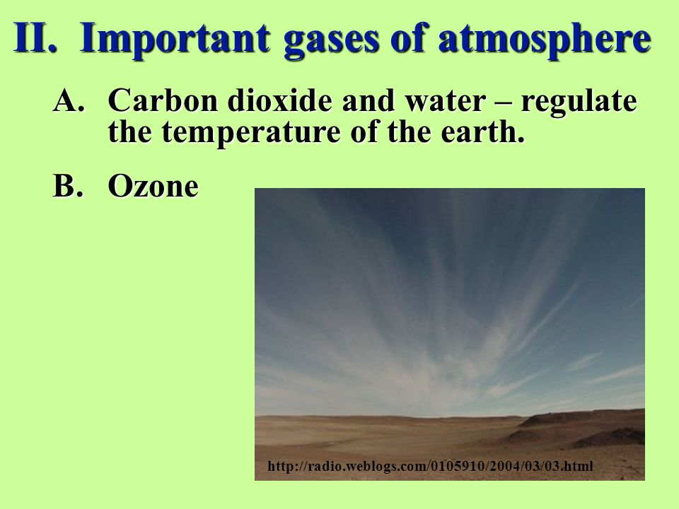 II. Important gases of atmosphere