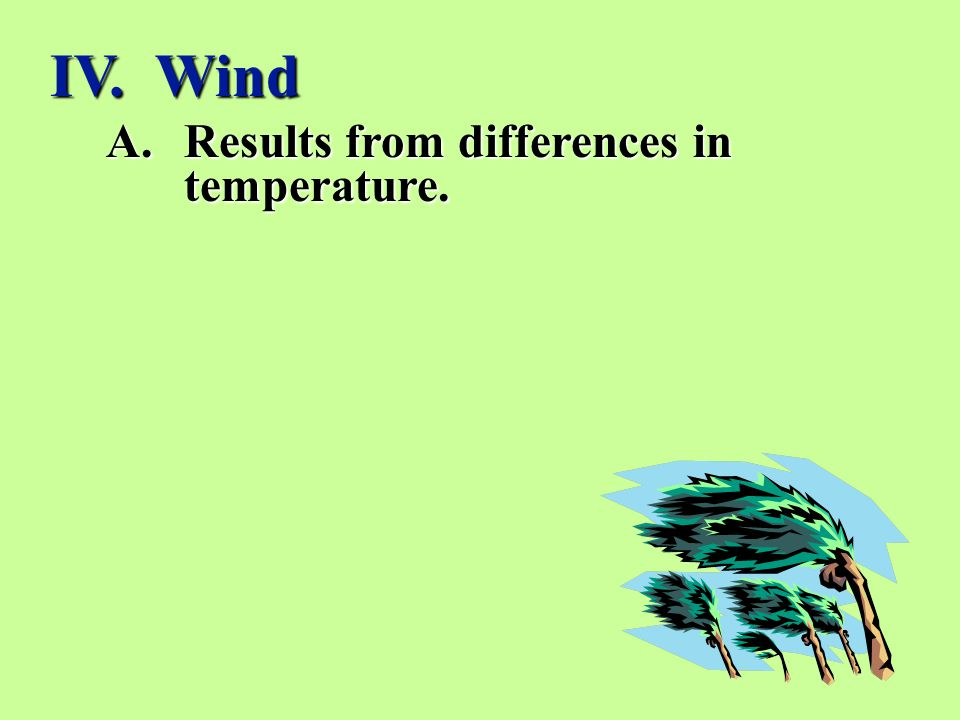 IV. Wind Results from differences in temperature.