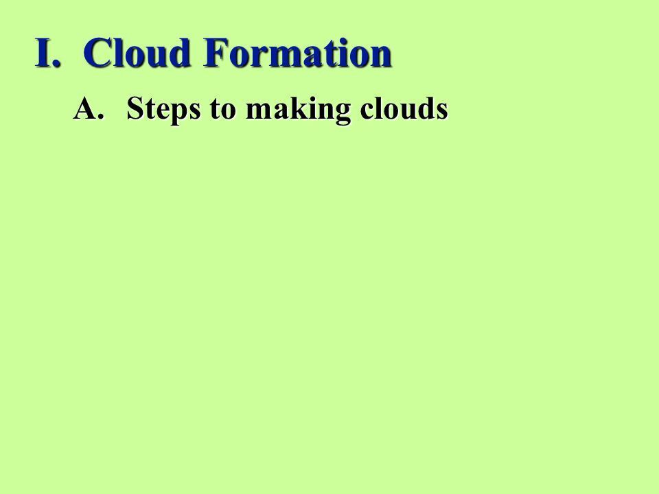 I. Cloud Formation Steps to making clouds