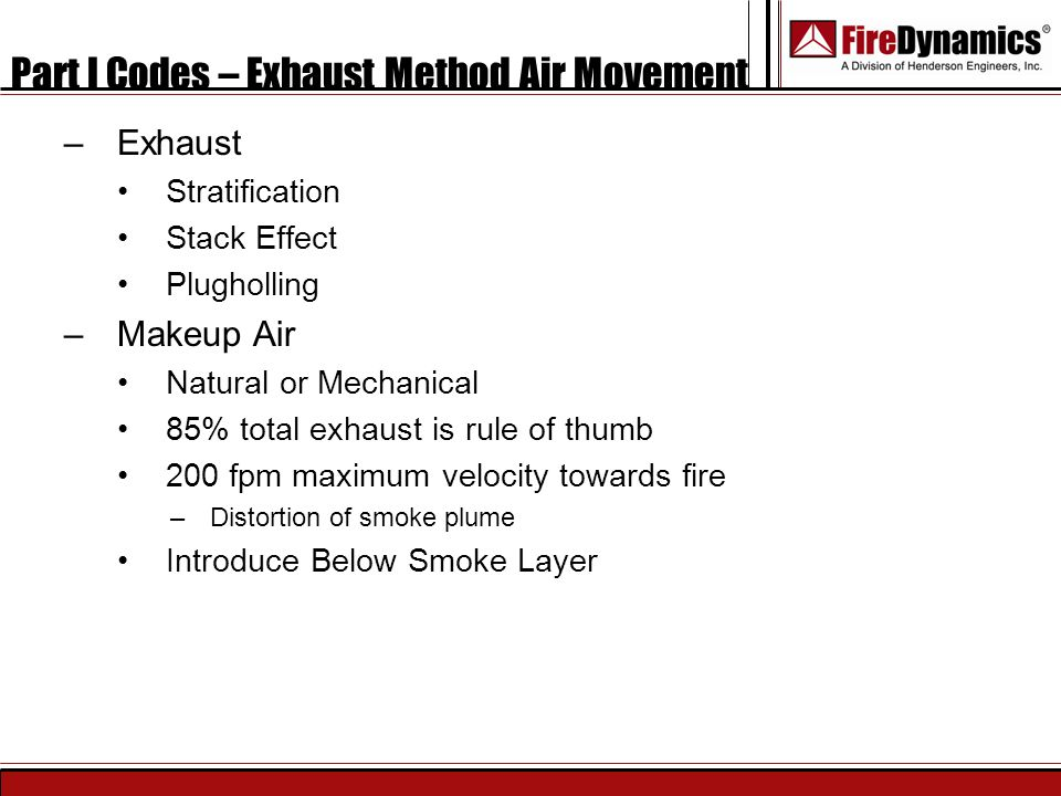 Part I Codes – Exhaust Method Air Movement
