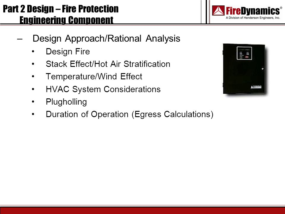 Part 2 Design – Fire Protection Engineering Component