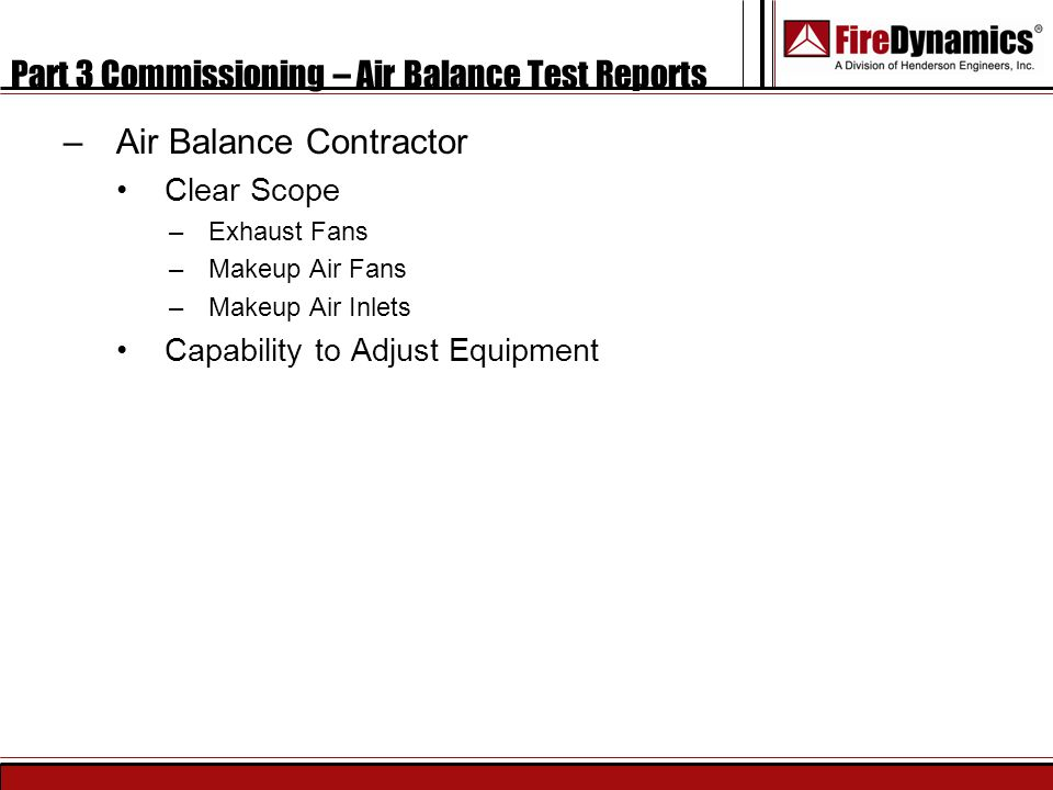 Part 3 Commissioning – Air Balance Test Reports