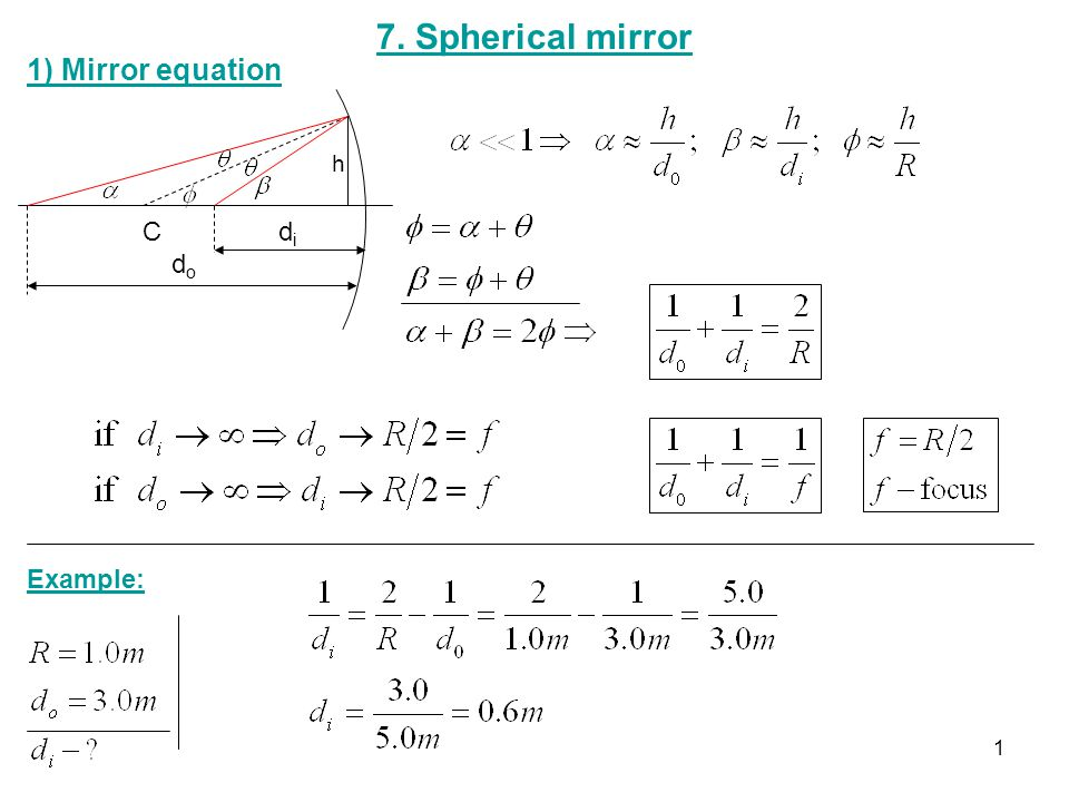 7 spherical mirror 1 mirror equation h c di do example for Mirror formula