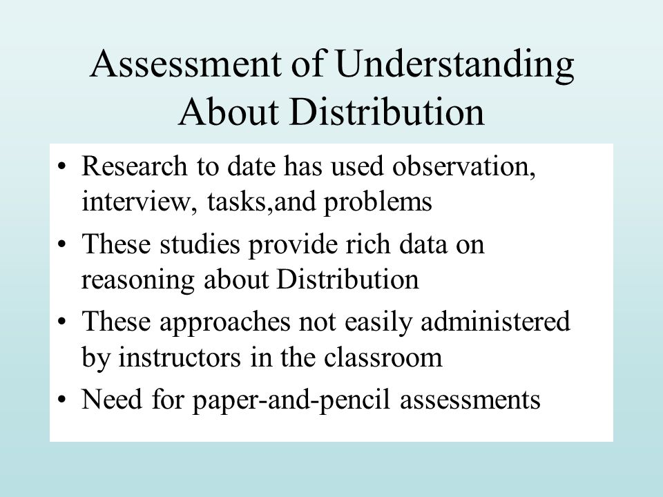 Assessment of Understanding About Distribution