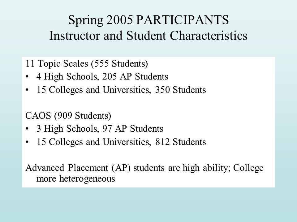 Spring 2005 PARTICIPANTS Instructor and Student Characteristics
