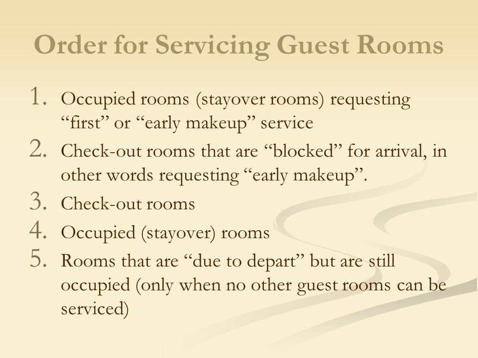 Order for Servicing Guest Rooms
