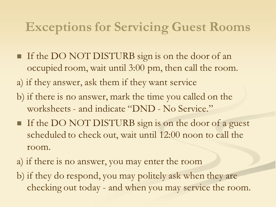 Exceptions for Servicing Guest Rooms