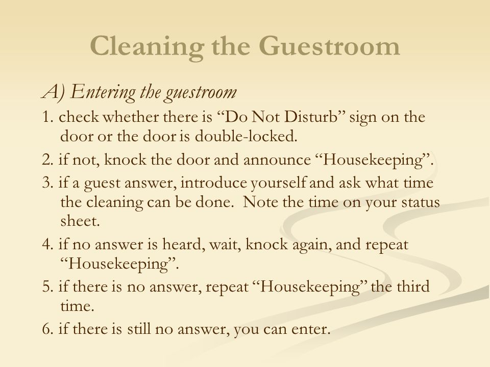 Cleaning the Guestroom