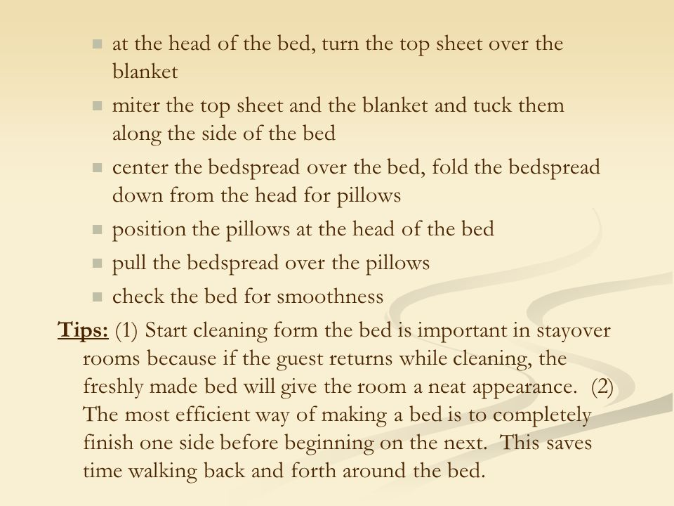 at the head of the bed, turn the top sheet over the blanket