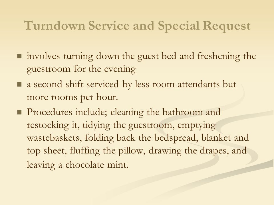 Turndown Service and Special Request