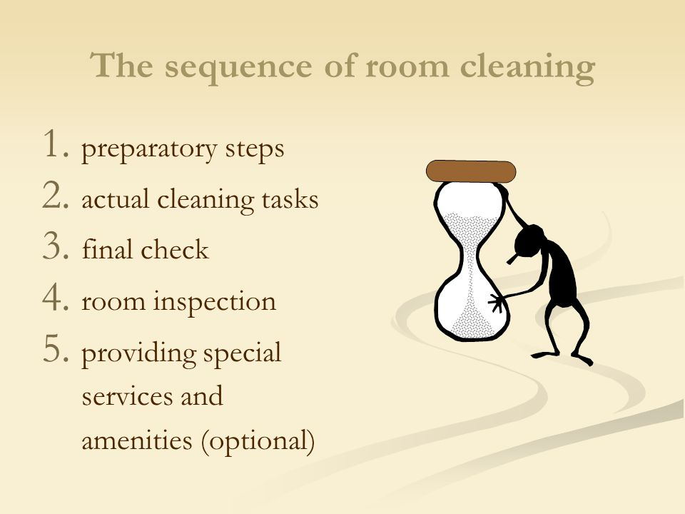The sequence of room cleaning