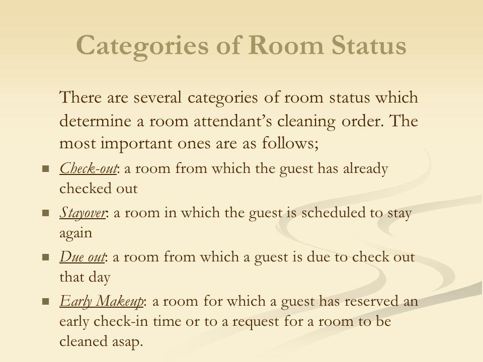 Categories of Room Status
