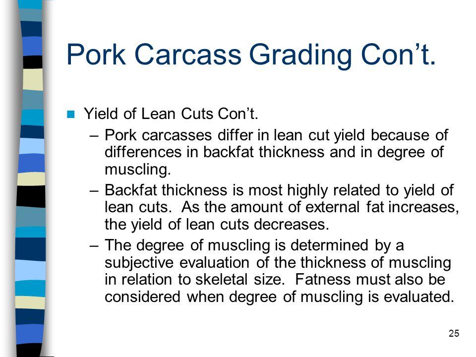 Pork Carcass Grading Con't.