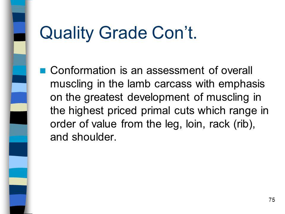 Quality Grade Con't.