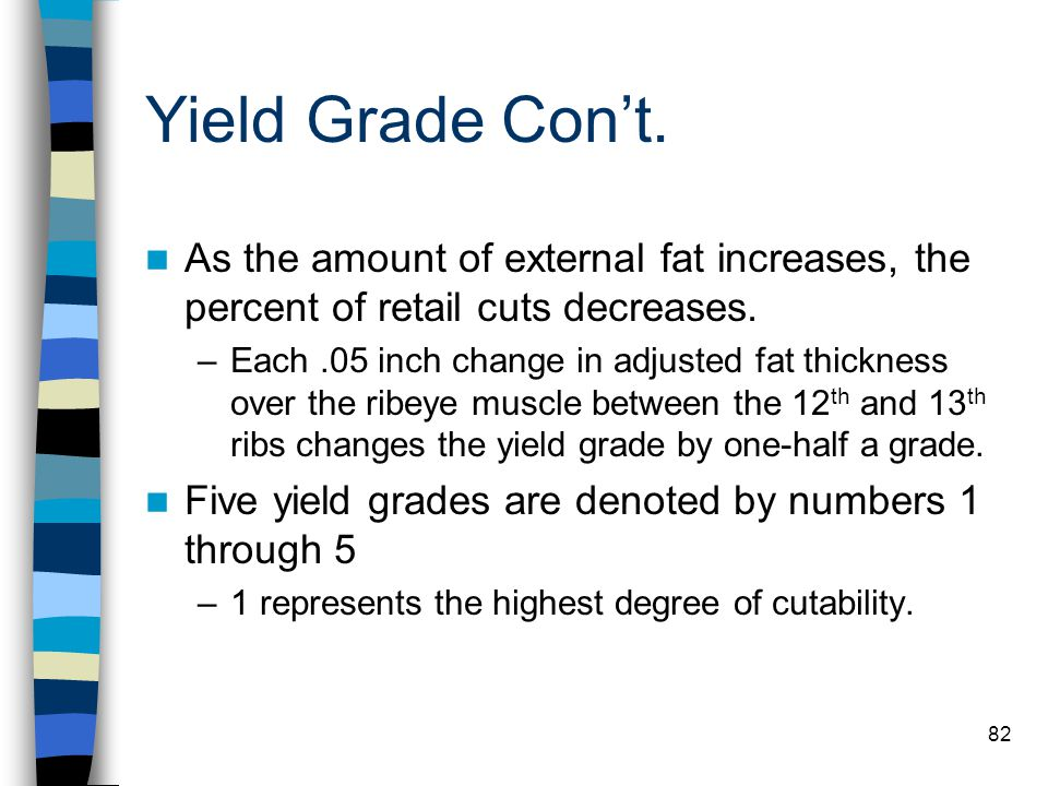Yield Grade Con't. As the amount of external fat increases, the percent of retail cuts decreases.
