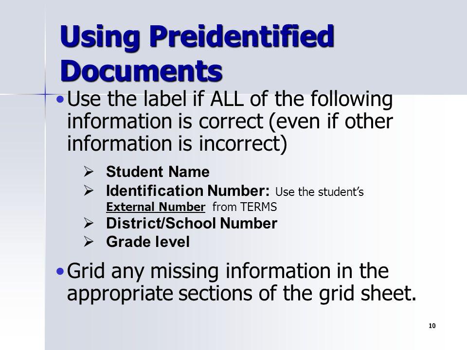 Using Preidentified Documents