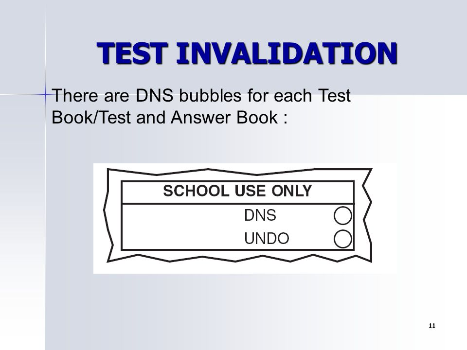TEST INVALIDATION There are DNS bubbles for each Test Book/Test and Answer Book : 11