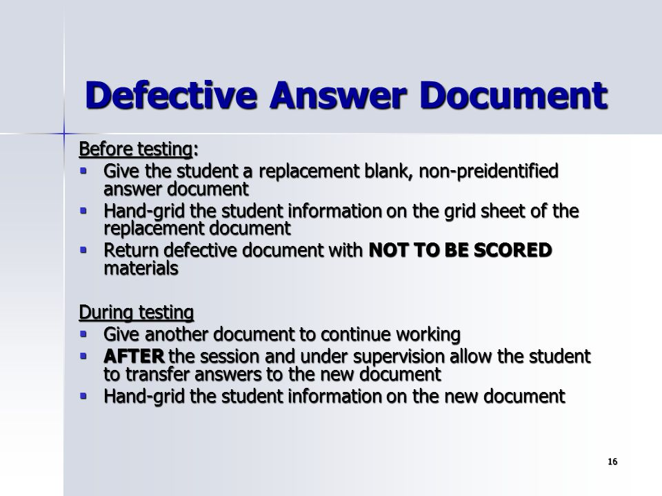 Defective Answer Document