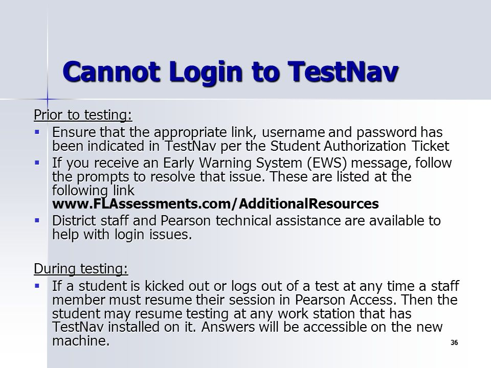 Cannot Login to TestNav