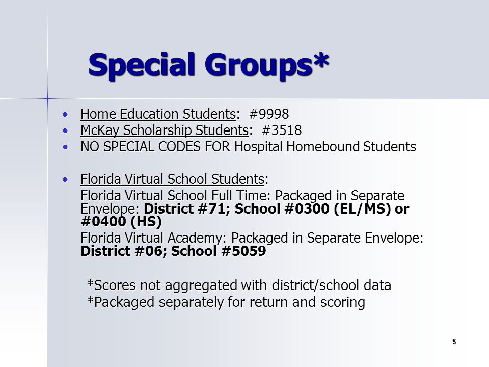 Special Groups* *Scores not aggregated with district/school data