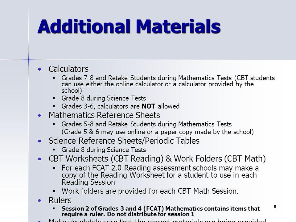 Additional Materials Calculators Mathematics Reference Sheets