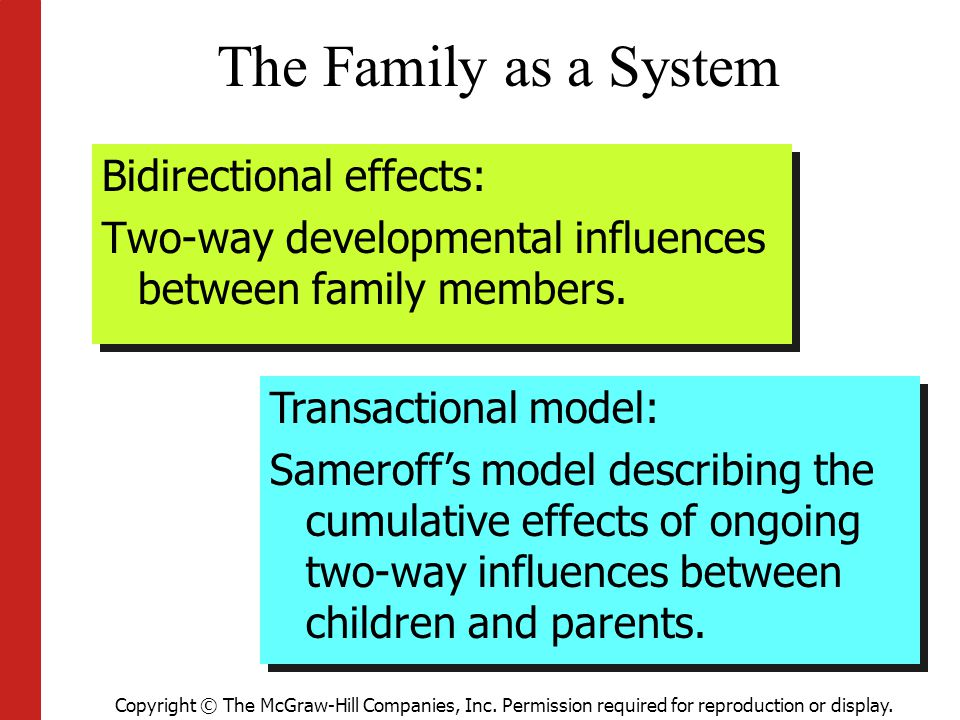 The Family as a System Bidirectional effects: