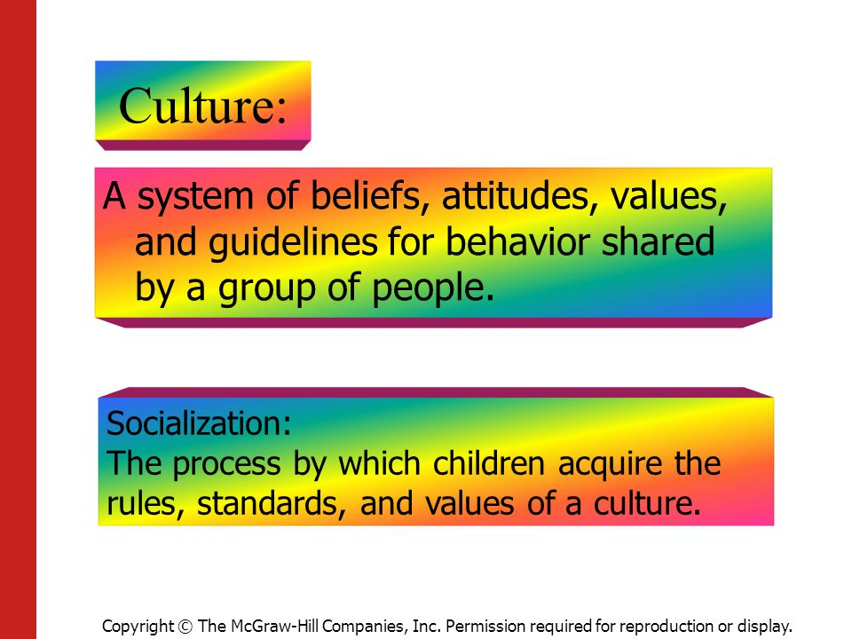 Culture: A system of beliefs, attitudes, values, and guidelines for behavior shared by a group of people.
