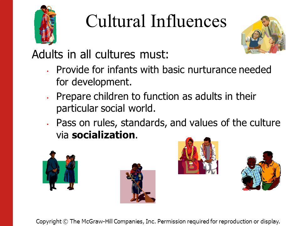 Cultural Influences Adults in all cultures must: