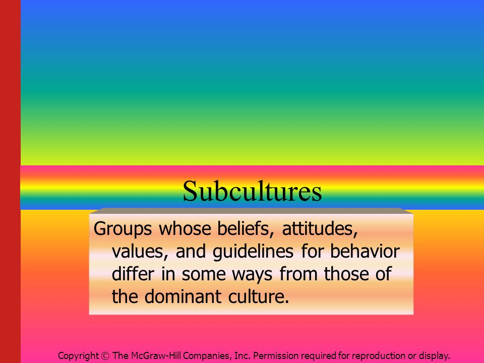 Subcultures Groups whose beliefs, attitudes, values, and guidelines for behavior differ in some ways from those of the dominant culture.