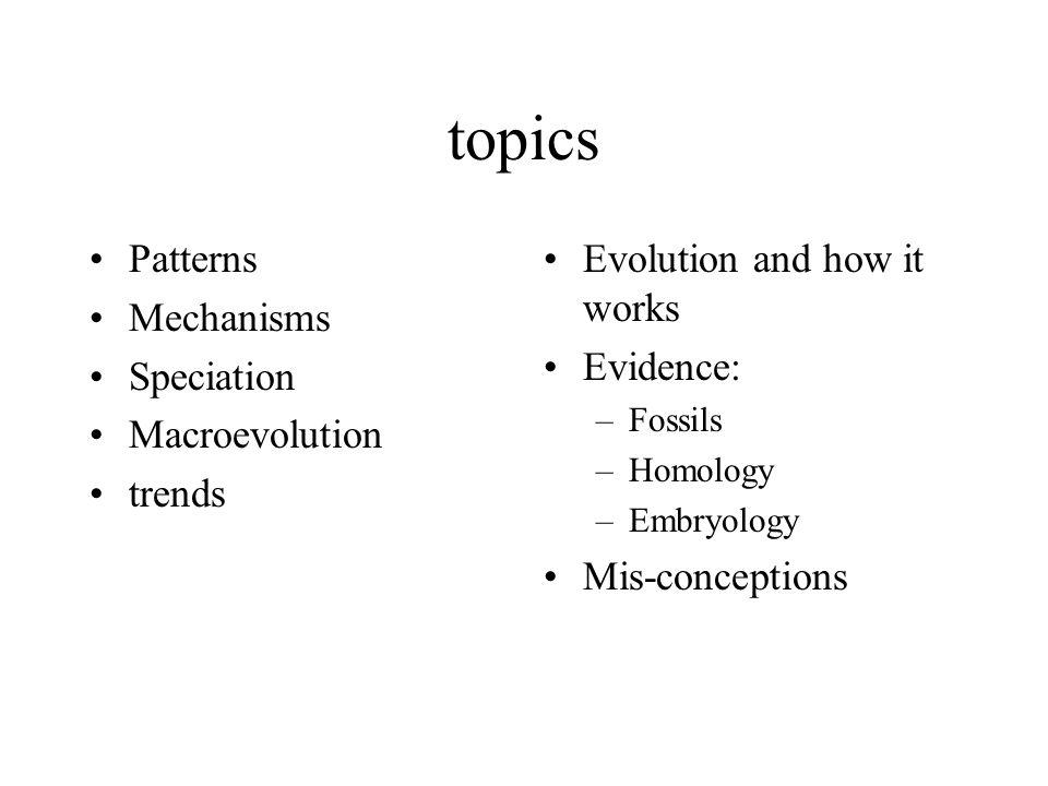 topics Patterns Mechanisms Speciation Macroevolution trends