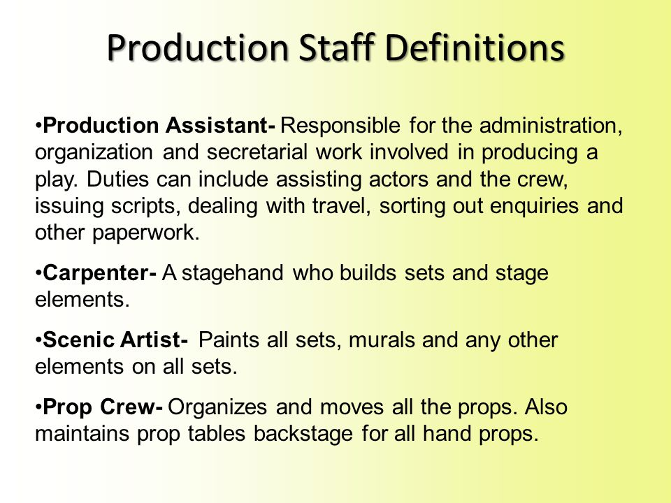 Production Staff Definitions