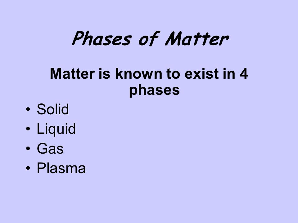 Matter is known to exist in 4 phases
