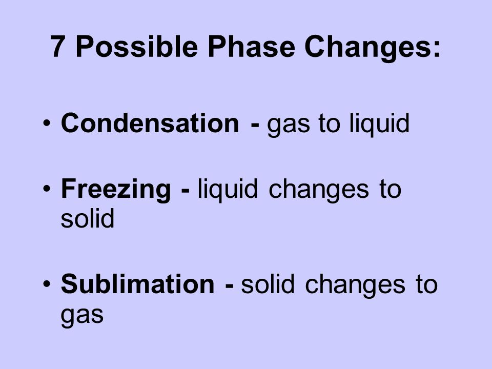 7 Possible Phase Changes: