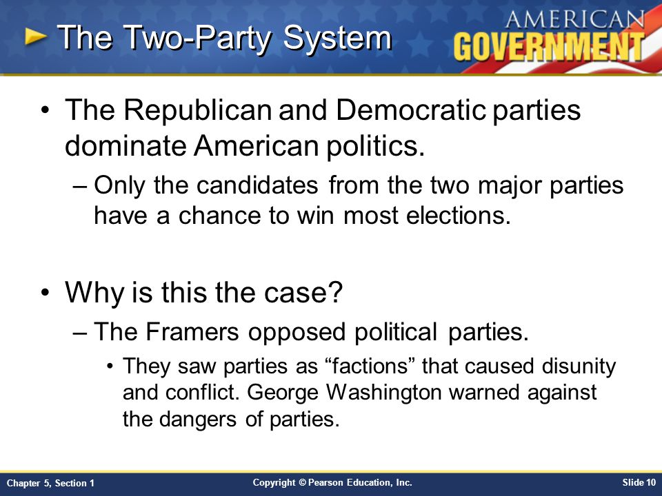 The Two-Party System The Republican and Democratic parties dominate American politics.