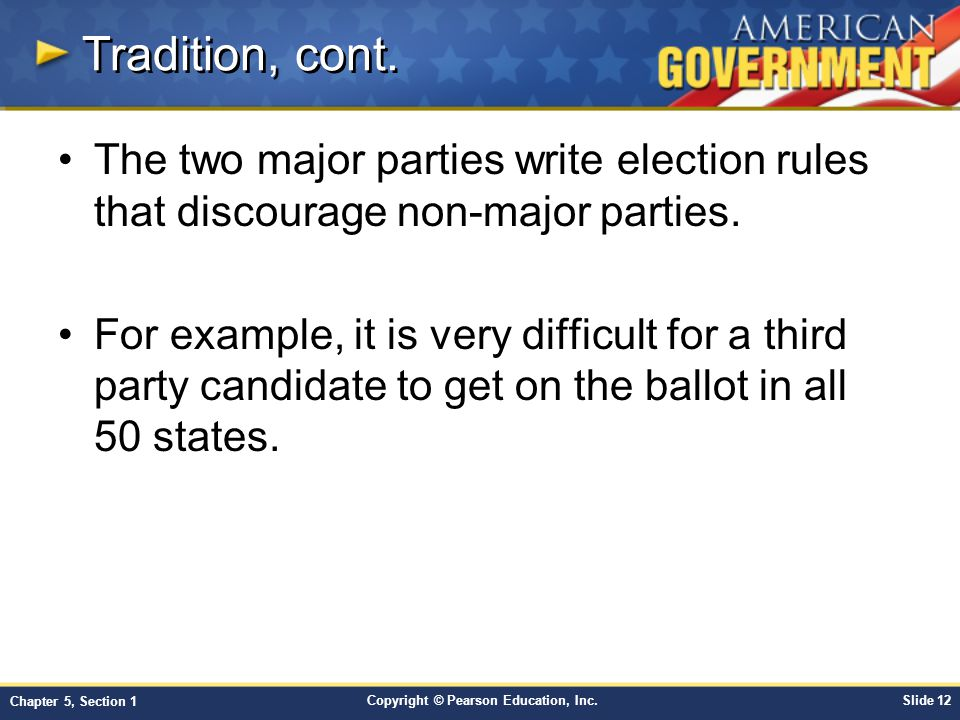 Tradition, cont. The two major parties write election rules that discourage non-major parties.