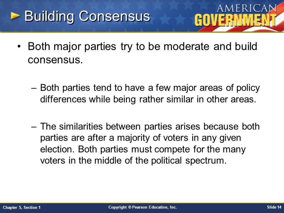 Building Consensus Both major parties try to be moderate and build consensus.