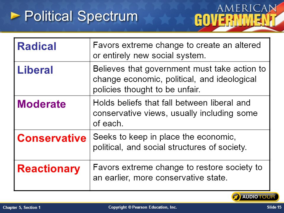 Political Spectrum Radical Liberal Moderate Conservative Reactionary