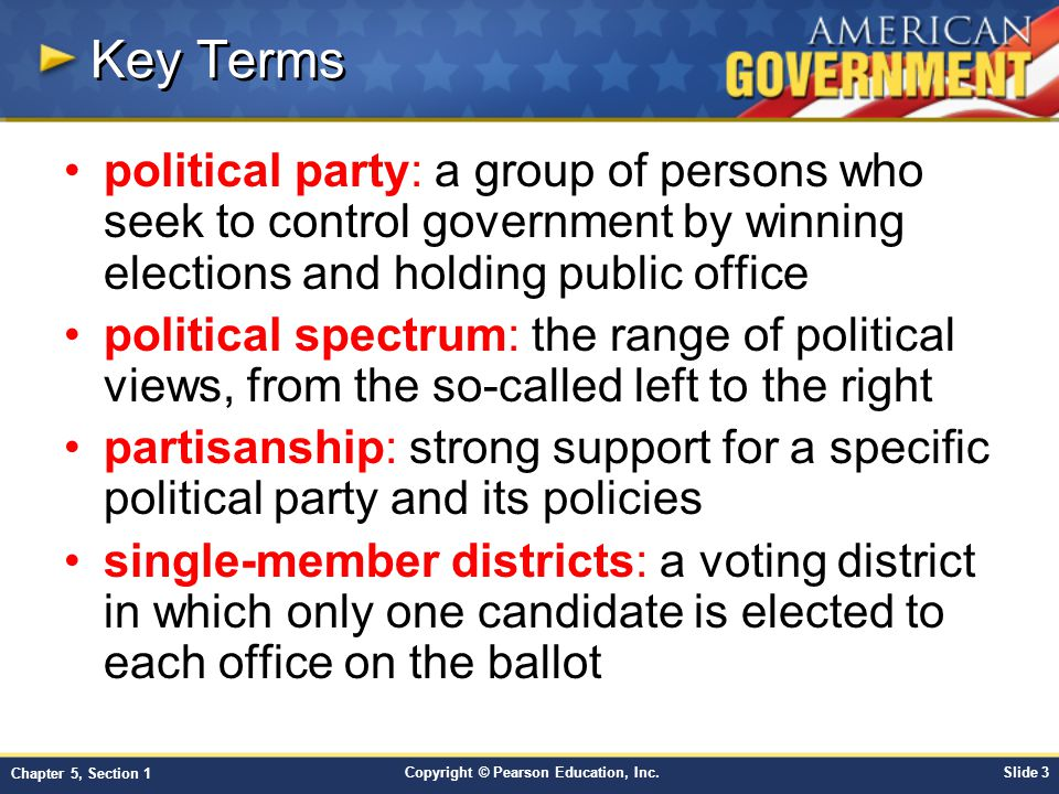 Key Terms political party: a group of persons who seek to control government by winning elections and holding public office.