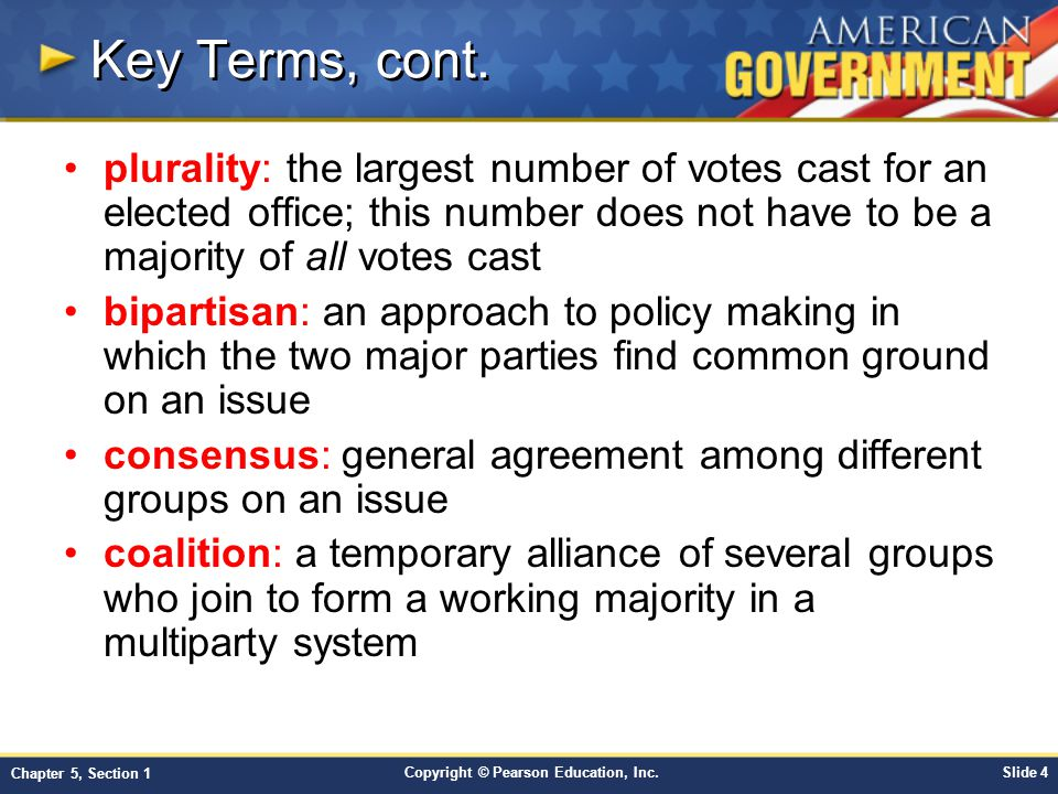 Key Terms, cont. plurality: the largest number of votes cast for an elected office; this number does not have to be a majority of all votes cast.