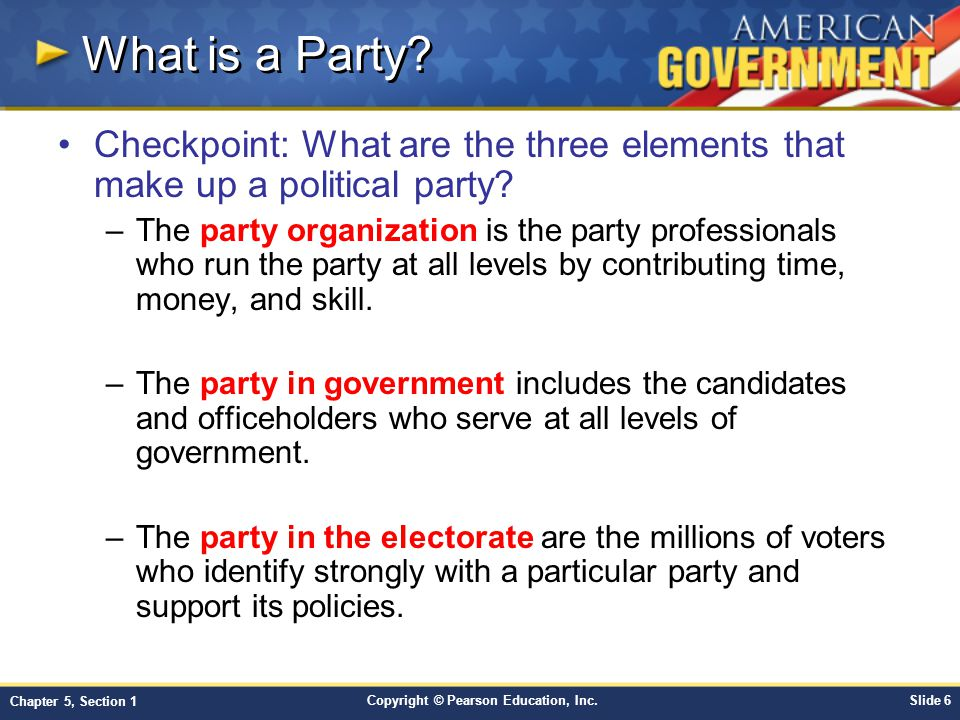 What is a Party Checkpoint: What are the three elements that make up a political party
