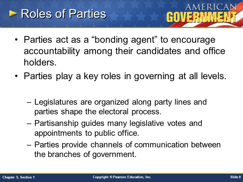 Roles of Parties Parties act as a bonding agent to encourage accountability among their candidates and office holders.