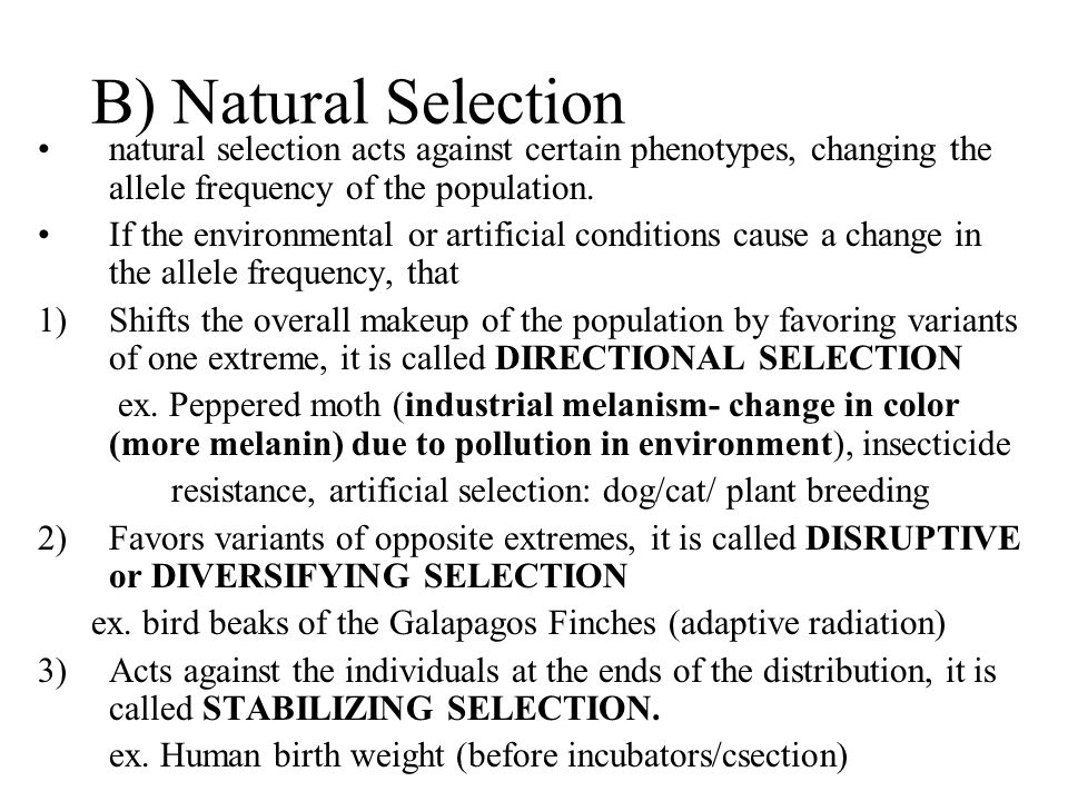 B) Natural Selection natural selection acts against certain phenotypes, changing the allele frequency of the population.