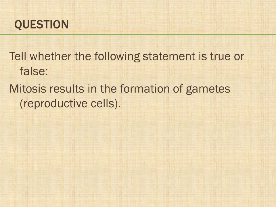 Question Tell whether the following statement is true or false: Mitosis results in the formation of gametes (reproductive cells).