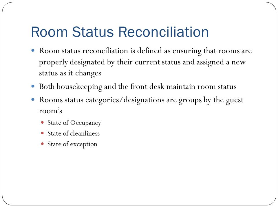 Room Status Reconciliation