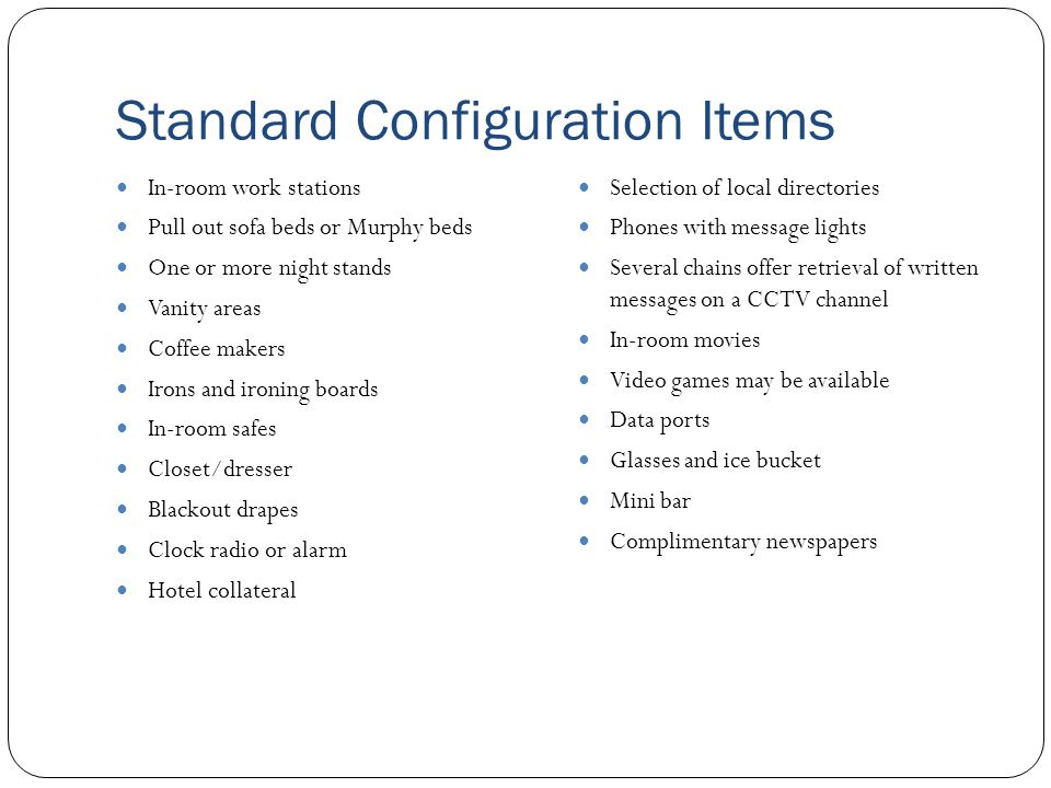 Standard Configuration Items