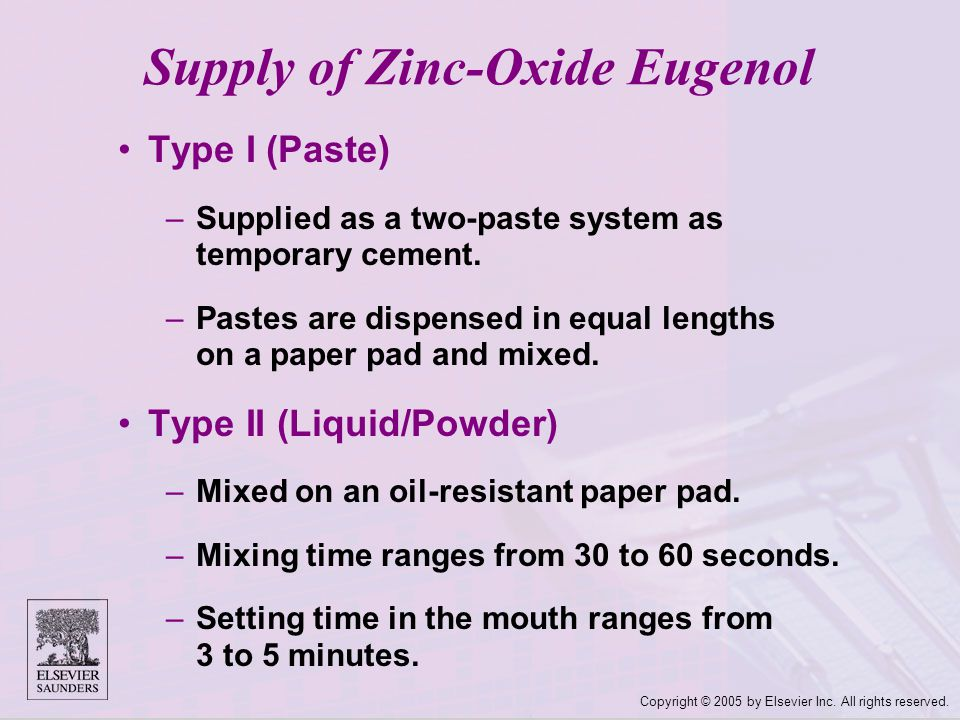 Supply of Zinc-Oxide Eugenol