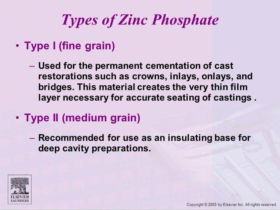 Types of Zinc Phosphate