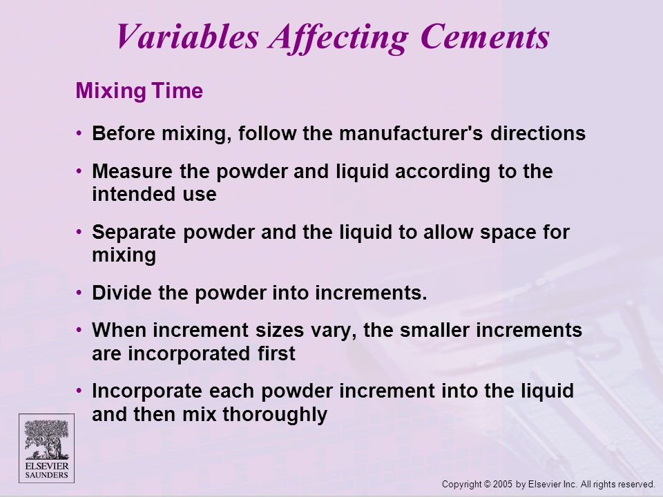 Variables Affecting Cements