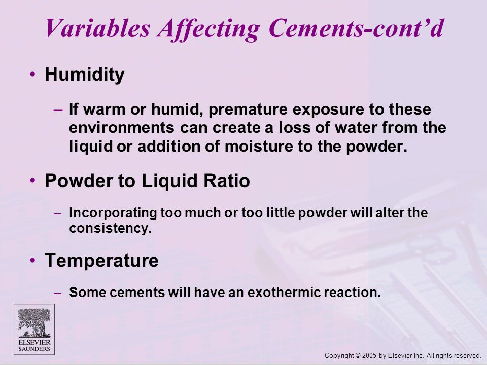 Variables Affecting Cements-cont'd