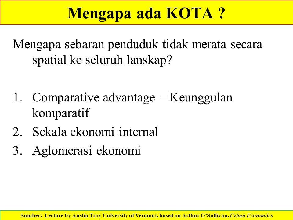 Mengapa ada KOTA Mengapa sebaran penduduk tidak merata secara spatial ke seluruh lanskap Comparative advantage = Keunggulan komparatif.